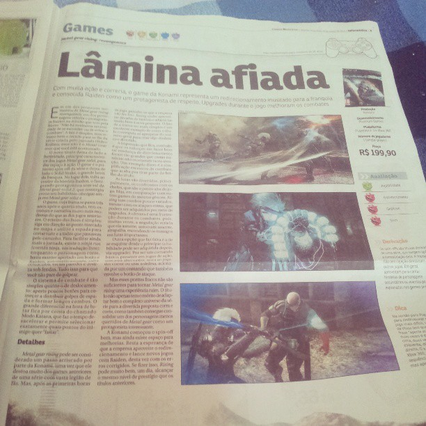 Meu primeiro review publicado no Correio Braziliense, Metal Gear Rising: Revengeance